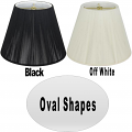 "Oval Silk String Lamp Shade Off White, Black 12-18""W"