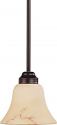 "Anastasia ORB Bronze Scavo Glass Mini Pendant Light 7""Wx42""H"
