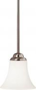 "Dupont Brushed Nickel White Glass Mini Pendant Light 6""Wx42""H"