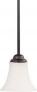 "Dupont Dark Bronze White Glass Mini Pendant Light 6""Wx42""H"