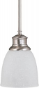 "Bella Brushed Nickel Frosted Glass Mini Pendant Light 5""Wx47""H"