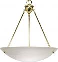 "Large Alabaster Glass Pendant Light Brass Frame 22""Wx17""H"