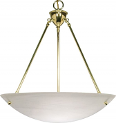 "Large Alabaster Glass Pendant Light Brass Frame 22""Wx17""H"