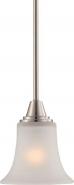 """Surrey Brush Nickel White Glass Mini Pendant 6""""Wx33""""H"""