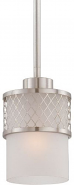 "Fusion Brushed Nickel White Drum Glass Mini Pendant Light 5""Wx46""H"