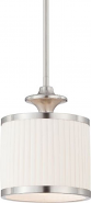 "Candice Brushed Nickel Pleated Drum Mini Pendant Light 7""Wx55""H"