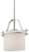 "Loren Polished Nickel Oval Glass Mini Pendant Light 8""Wx45""H"