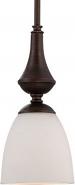 "Patton ORB Bronze Frost Glass Mini Pendant 5""Wx50""H"