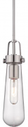 "Beaker Brushed Nickel Clear Glass Mini Pendant Light 5""Wx53""H"