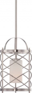"Ginger Brushed Nickel Cage Glass Drum Pendant Light 8""Wx52""H"