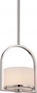"Celine Polished Nickel White Drum Glass Mini Pendant 7""Wx48""H"