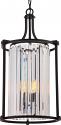 "Krys Aged Bronze Crystal Pendant Light Vintage Bulbs 15""Wx26""H"