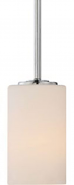 """Willow Polished Nickel Drum Glass Shade Mini Pendant 4""""Wx45""""H"""