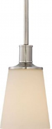 "Laguna Brushed Nickel & White Glass Mini Pendant 5""Wx46""H"