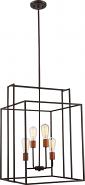 "Lake Bronze & Copper Pendant Light Vintage Bulbs 19""Wx19""H"