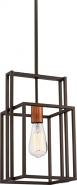 """Lake Bronze Iron Copper Accent Pendant Light Vintage Bulb 8""""Wx52""""H"""