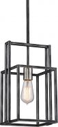 "Lake Black Iron Dusted Nickel Pendant Light Vintage Bulb 8""Wx52""H"