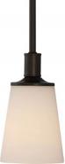 """Laguna Aged Bronze & White Glass Mini Pendant 5""""Wx46""""H"""