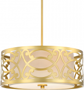 "Natural Brass & Linen Drum Pendant Light 17""Wx45""H"