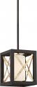 """Boxer Matte Black Antique Silver Mini Pendant Light 7""""Wx7""""H"""