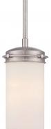 "Polaris Brushed Nickel Opal Glass Mini Pendant 5""Wx47""H"