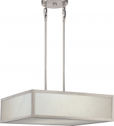 "Crate LED Brushed Nickel Gray Marbled Panel Pendant Light 20""Wx6""H"