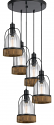 "Bronze Iron Wood Glass Pendant Light 20""W"