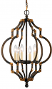 "Black Bronze Antique Gold Iron Chandelier 6 Lights 17""Wx27""H"