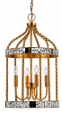 "Mirror French Gold Bird Cage Pendant Light 13""Wx24""H"