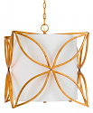"French Gold Iron & White Drum Pendant Light 17""Wx19""H"