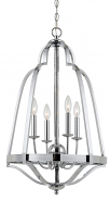 "Large Foyer Chandelier Chrome Iron Cage 26""Wx26""H - Sale !"