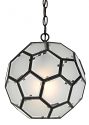 "Frost & Clear Glass Globe Chandelier 12""Wx12""H"