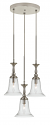"Belair Brushed Steel Glass Pendant 3 Light 15.5""W"