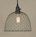 "Gray Chicken Wire Swag Lamp Pendant Light 10""Wx8""H"