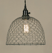 "Chicken Wire Swag Lamp Gray Dome 10""Wx8""H - Sale !"