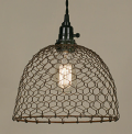 "Rust Chicken Wire Swag Lamp Pendant Light 10""Wx8""H"