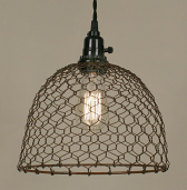 "Chicken Wire Swag Lamp Rust Dome 10""Wx8""H - Sale !"