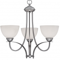 "Austin Brushed Pewter Chandelier White Etched Glass 23""Wx22""H"
