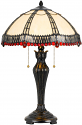 "Cream Crystal & Red Jewels Filigree Overlay Tiffany Table Lamp 24""H - Sale !"