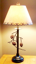 """Wrought Iron Pine Cone Lamp Leather Look Shade 26""""H"""