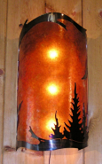"Pine Trees Mica Wall Sconce Light 24""Hx14""W"