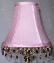 "Pink Lamp Shade Beaded Fringe 6""W"
