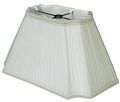 "Rectangle Pleated Inverted Corner Chiffon Lamp Shade Cream, White 10-18""W"