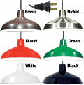"Warehouse Industrial Plug In Pendant Light 6 Colors 16""W"