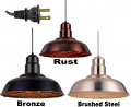 "Plug In Warehouse Pendant Light w/Metal Guard - 3 Colors 16""W - Sale"
