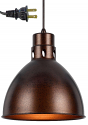 "Rust Industrial Plug In Pendant Light 10""W"