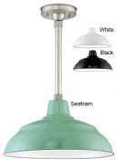 "Porcelain Enamel Pendant Light 3 Colors Indoor-Outdoor 14-17""W"