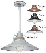 "Railroad Pendant Light 4 Colors Indoor-Outdoor 14-18""W"