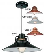 "Railroad Pendant Light w/Cord 4 Colors Indoor-Outdoor 14-18""W"