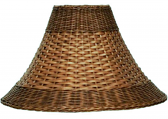 """Brown Bell Dual Weave Rattan Lamp Shade 13-20""""W"""